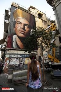 Murales dedicato a San Gennaro dall'artista urbano Jorit a Forcella (Napoli 18/9/2015)