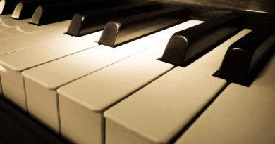 Close up shot of piano keyboard with spot light on