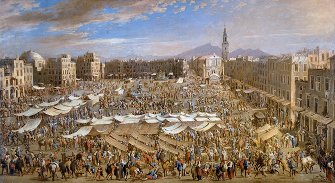 Domenico Gargiulo - Fundación Casa Ducal de Medinaceli. Title: La plaza del mercado de Nápoles/Piazza Mercato, Naples. Date: c. 1654. Materials: oil on canvas. DImensions: 76 x 141 cm. Source: http://www.museothyssen.org/microsites/prensa/2011/Arquitecturas-pintadas/img/Gargiulo.jpg. P.S. I have changed the light, contrast and colors of the original photo.