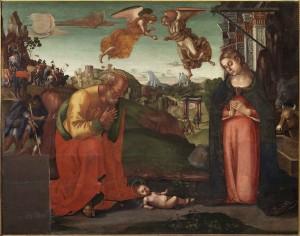 Luca Signorelli Adorazione del Bambino olio su tavola cm 142x179 I.C. 67 sec.XVI Napoli, Museo e Real Bosco di Capodimonte