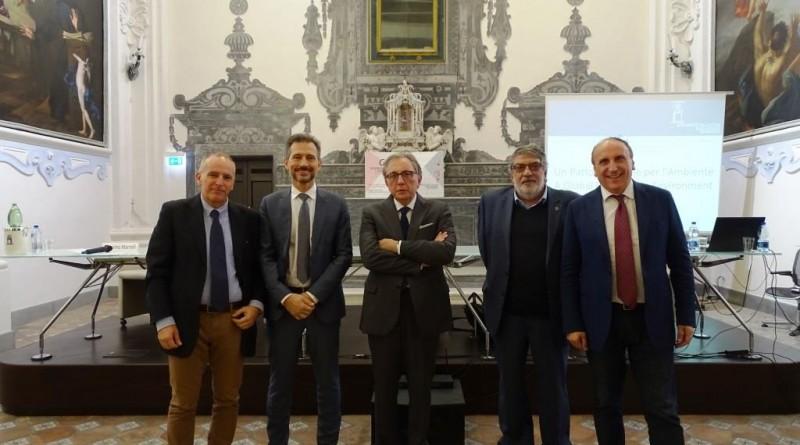 Il team del Tavolo italiano di lavoro per il Patto Mondiale per l'Ambiente con Domenico Amirante Yann Aguila Lucio d'Alessandro Massimo Marrelli e Vincenzo Pepe